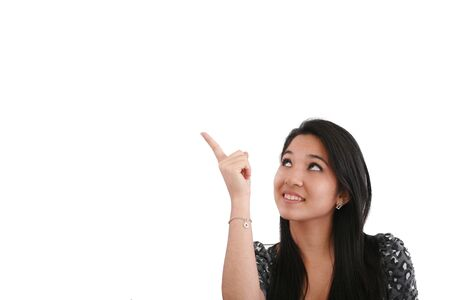 chinesse: happy smiling young business woman showing blank area for sign or copyspase, isolated on white background