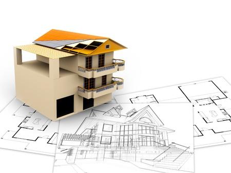 penthouse: 3d imagen, architecture concept  Stock Photo