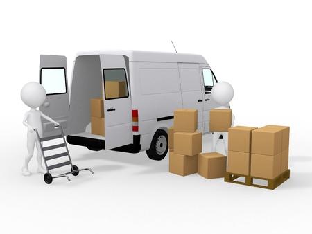 carga: Trabajadores 3d cargando cajas en una furgoneta Foto de archivo