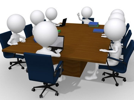 brain storming: 3d group discussion on a business meeting in a modern office