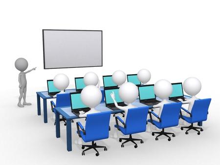 training: 3d persoon met de aanwijzer in de hand in de buurt van bestuur, concept van het onderwijs en leren, 3d render afbeelding Stockfoto
