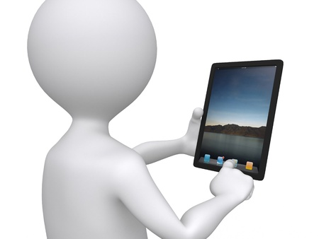 3d communication, little human character with his touch pad photo