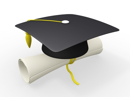 3d graduation cap and diploma  photo