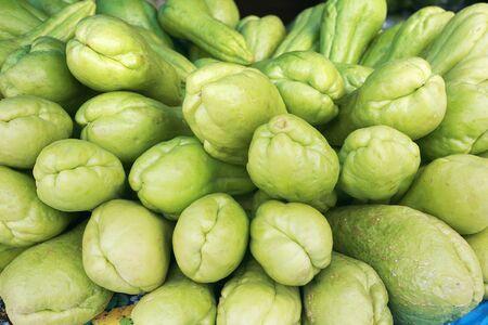 chayote: Background of organic choko Sechium edule vegetable pears