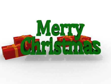 Red Merry Christmas 3D Lettering  photo