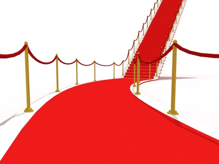 image on the staircase with red carpet, illuminated photo