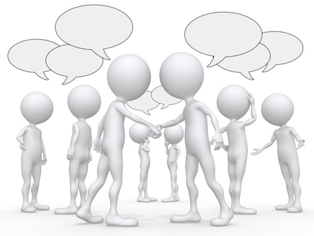 abstract business people figures with speech bubbles  Stock Photo