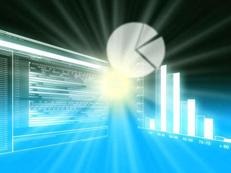 graficas de pastel: Los gráficos circulares y de barras y gráficos de líneas de negocios que muestran el rendimiento y las ventas Foto de archivo