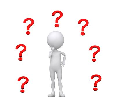hesitation: Where to? (3d person with multiple questions mark)  Stock Photo