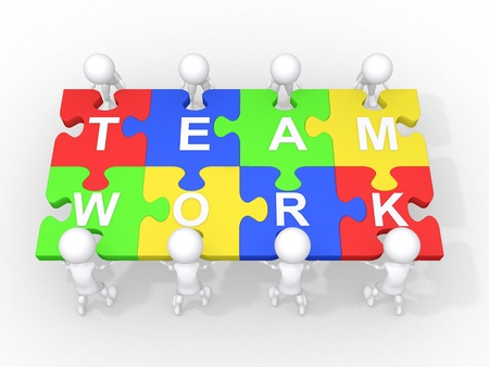 business roles: Concept of teamwork, leadership, cooperation,... Stock Photo
