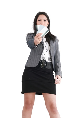 woman with a credit card on her hand  photo