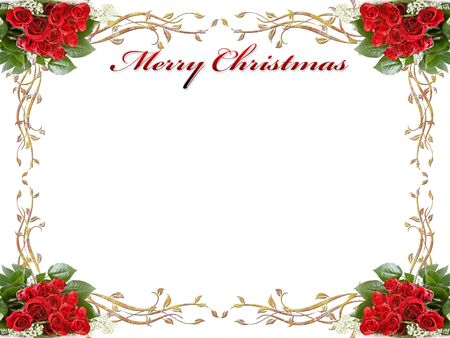 christmas background with roses and leaves Stock Photo