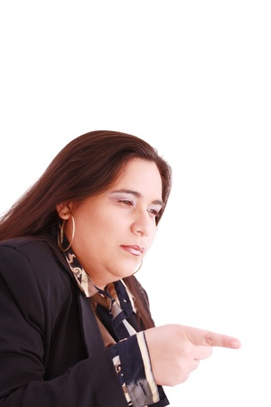 Disappointed woman showing her unhappiness by wagging her finger photo