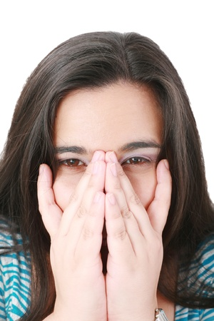 hand on mouth: Young businesswoman covering her mouth with hands