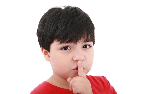 shh. secret - Young boy with his finger over his mouth Stock Photo - 10858897