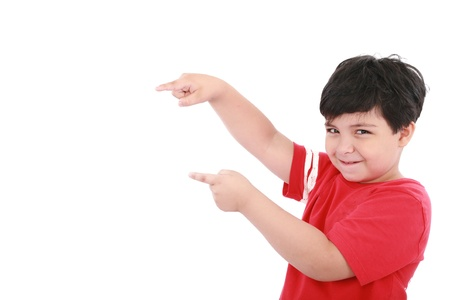kinderen: Een jongetje wijst naar iets, jongen biedt u iets wat
