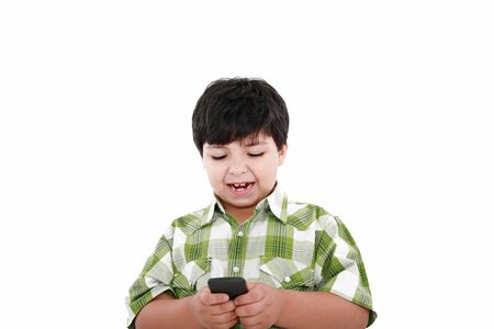 telecommunicating: Boy text messaging isolated over white