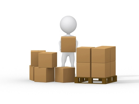 3d small people: 3d small people carrying cardboard boxes. 3d image. Stock Photo