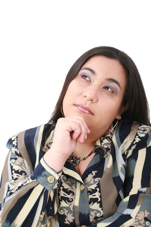 plus sized: Portrait of young beautiful business woman looking contemplative. Isolated over white