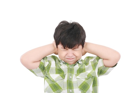 mouth closed: Little boy closing his eyes and ears with his hands, isolated on white  Stock Photo