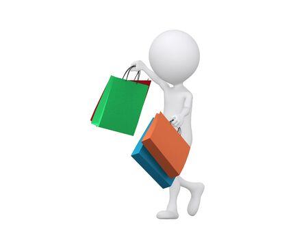 compras compulsivas: 3d bolsas de compras de haberes de persona - aislados en un fondo blanco