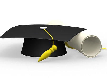 examiert: graduation cap diploma isolated on a white background