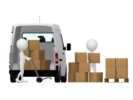 3d small persons carrying the hand truck with boxes. Boxes and van. Stock Photo