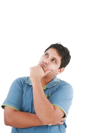 Thinking man isolated on white background. Closeup portrait of a casual young pensive businessman looking up at copyspace Stock Photo - 11056112