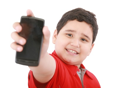 Boy showing his new cell phone Stock Photo - 11141041