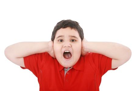 crewcut: Horizontal portrait of a young boy yelling  Stock Photo