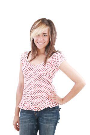 zapatos escolares: Sonrisa feliz de niña bonita de la escuela adolescente con el pelo largo y castaño