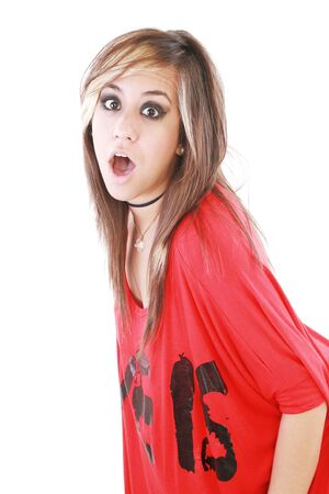 Shocked trendy teenage girl posing mouth open   photo