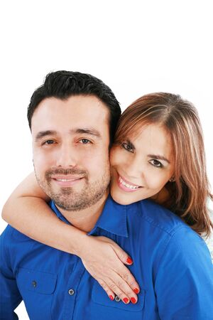 40s adult: couple portrait smiling with a white background