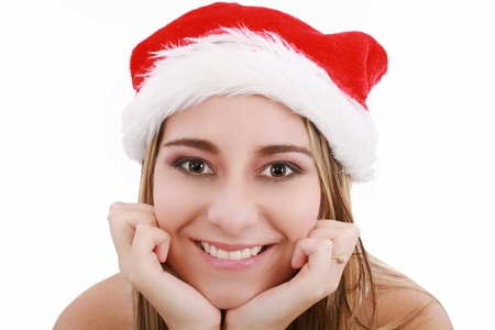 santa girl: Picture of pretty christmas girl in santa hat, smiling isolated on white background Stock Photo
