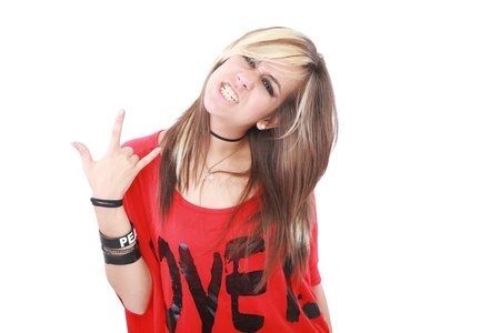punk rock: Portrait of a beautiful young female rock singer