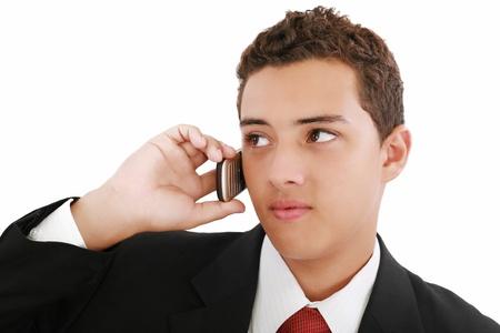 nineteen: Close-up di attraente giovane uomo d'affari sul cellulare. Diciannove anni.