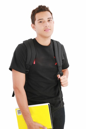 junior student: attractive boy student standing with school backpack a over white background