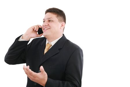 celphone: Business man talking on the phone isolated over white