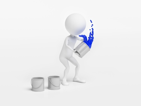 Man throwing a bucket of paint photo