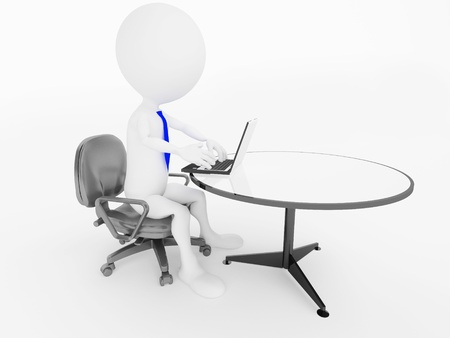 man using computer: 3d business man character sitting in office chair with laptop at desk   Stock Photo