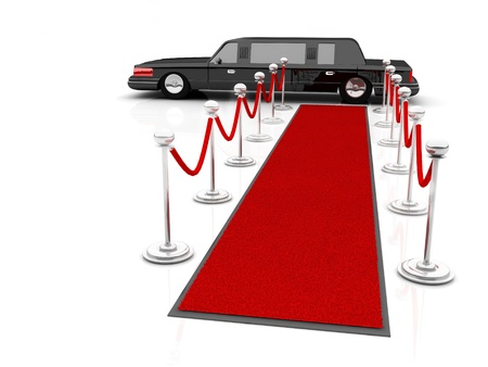Illustration of a VIP red carpet leading with waiting limousine.  illustration