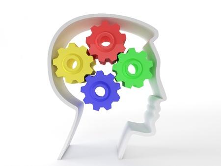 gears: La inteligencia humana y la función cerebral representada por los engranajes en forma de una cabeza que representa el símbolo de la salud mental y la función neurológica en pacientes con depresión.