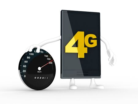 smartphone displaying the speed of 4g. Stock Photo - 11701345
