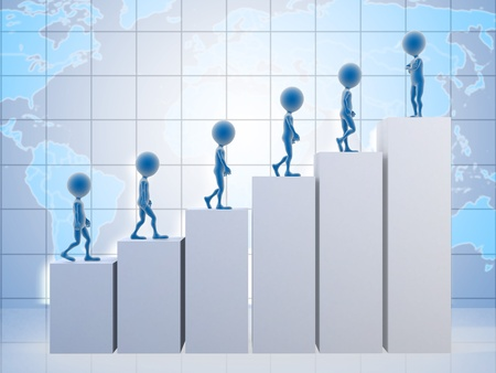 3D business men climbing a graph with one confident business man on top  photo