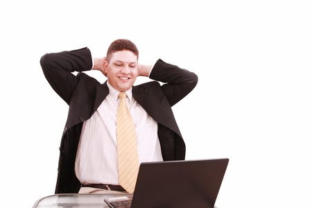 Young business man relax with happily after working   photo