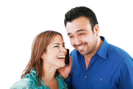 couple listening something in mobile cellphone Stock Photo - 11701283