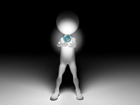 establish: 3d Man holding the world in the night Stock Photo