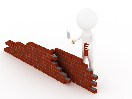 3d man in a hardhat building brick wall  photo