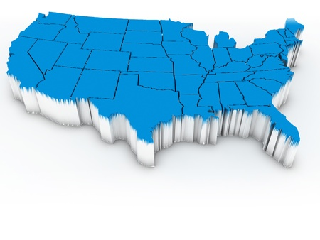 virginia: Map of USA. 3d
