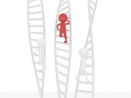 subiendo escaleras: La gente en 3D usando una escalera de escalada